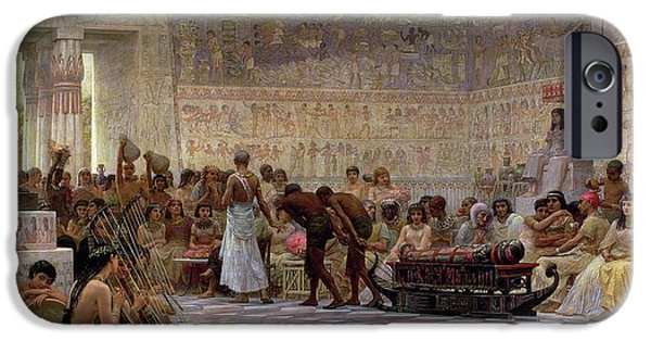 Column iPhone Cases - An Egyptian Feast iPhone Case by Edwin Longsden Long
