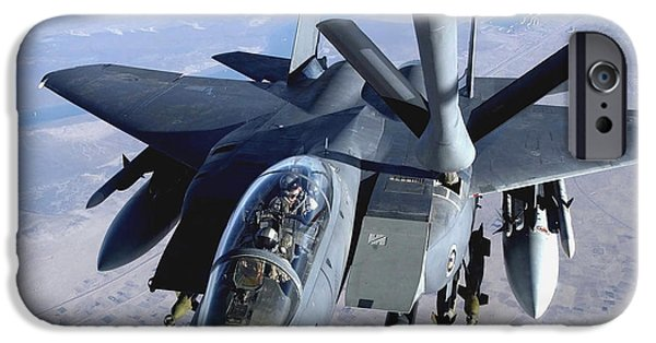 Iraq iPhone Cases - An F-15e Strike Eagle Refuels Over Iraq iPhone Case by Stocktrek Images