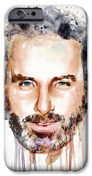 Lincoln Digital iPhone Cases - Andrew Lincoln watercolor iPhone Case by Marian Voicu