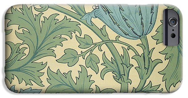 Pattern Tapestries - Textiles iPhone Cases - Anemone design iPhone Case by William Morris