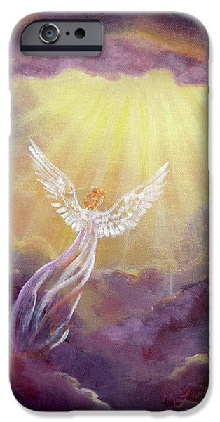 Angel. Spiritual iPhone Cases - Angel in Mauve Clouds iPhone Case by Laura Iverson
