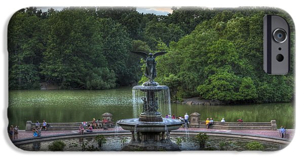 Lee Dos Santos iPhone Cases - Angel of the Waters Fountain  Bethesda iPhone Case by Lee Dos Santos