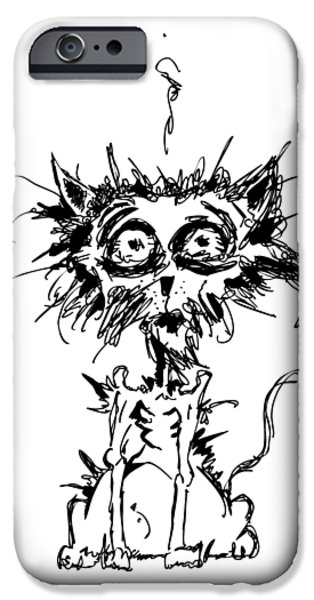 Cat Drawings iPhone Cases - Angst Cat iPhone Case by Nicholas Ely
