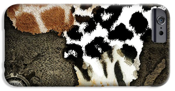 The Tiger Paintings iPhone Cases - Animal Fur Map of Africa iPhone Case by Mindy Sommers