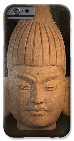 Tranquil Sculptures iPhone Cases - antique oil effect Buddha Burmese iPhone Case by Terrell Kaucher