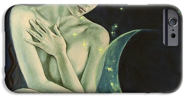 Constellation Paintings iPhone Cases - Aquarius from  Zodiac signs series iPhone Case by Dorina  Costras