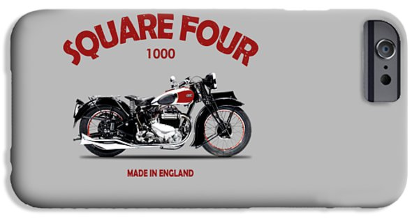 Motorcycle iPhone Cases - Ariel Square Four 1938 iPhone Case by Mark Rogan