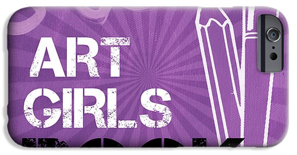 Kids Art iPhone Cases - Art Girls Rock iPhone Case by Linda Woods