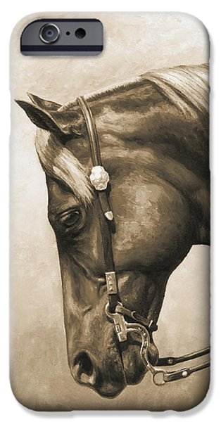 Sepia iPhone 6 Case - Western Horse Painting In Sepia by Crista Forest
