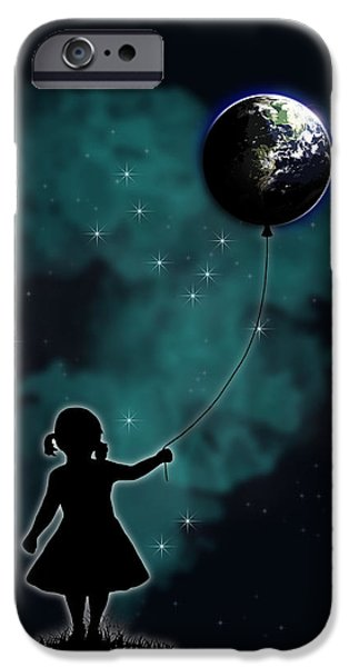 Surrealism Drawings iPhone Cases - The Girl That Holds The World iPhone Case by Nicklas Gustafsson