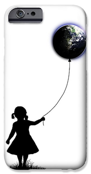 Surrealism Drawings iPhone Cases - The Girl That Holds The World - White  iPhone Case by Nicklas Gustafsson