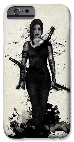 Digital Mixed Media iPhone Cases - Onna Bugeisha iPhone Case by Nicklas Gustafsson