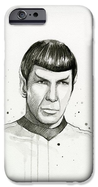 Star iPhone 6 Case - Spock Watercolor Portrait by Olga Shvartsur