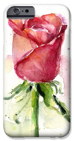 Red Rose iPhone 6 Case - Rose Watercolor by Olga Shvartsur