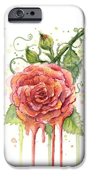 Red Rose iPhone 6 Case - Red Rose Dripping Watercolor  by Olga Shvartsur