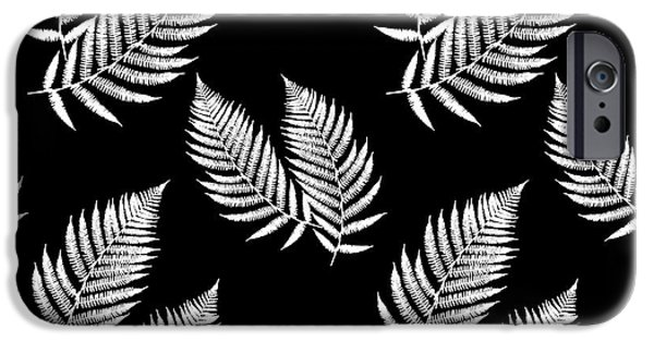 IPhone 6 Case featuring the mixed media Fern Pattern Black And White by Christina Rollo