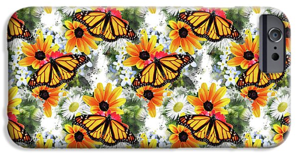 IPhone 6 Case featuring the mixed media Butterfly Pattern by Christina Rollo