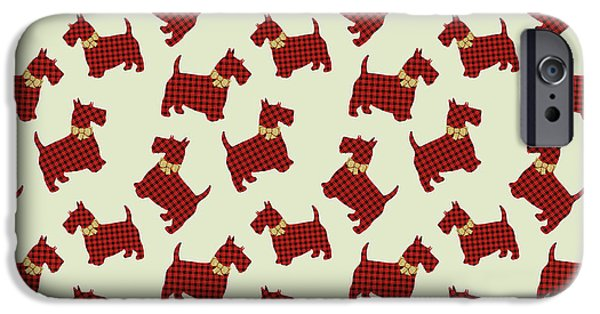 IPhone 6 Case featuring the mixed media Scottie Dog Plaid by Christina Rollo