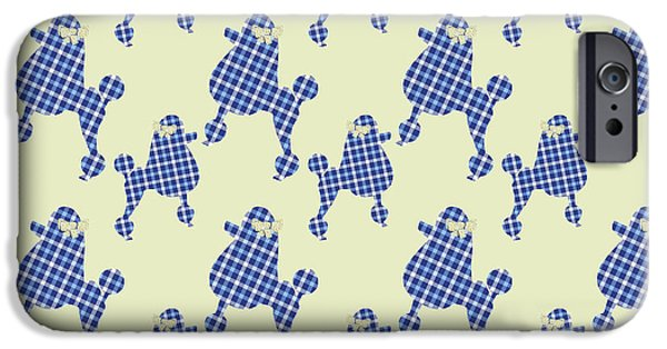 IPhone 6 Case featuring the mixed media French Poodle Plaid by Christina Rollo