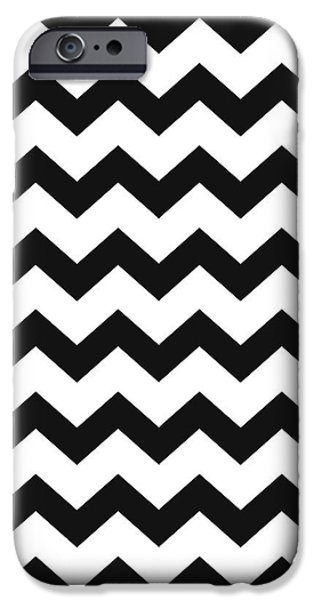 IPhone 6 Case featuring the mixed media Black White Geometric Pattern by Christina Rollo