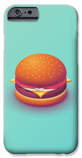 iPhone 6 Case - Burger Isometric - Plain Mint by Ivan Krpan