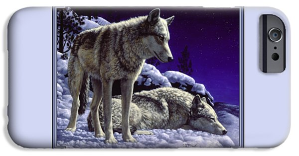 Animal iPhone 6 Case - Wolf Painting - Night Watch by Crista Forest