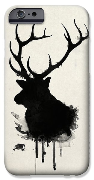 Nature Drawings iPhone Cases - Elk iPhone Case by Nicklas Gustafsson