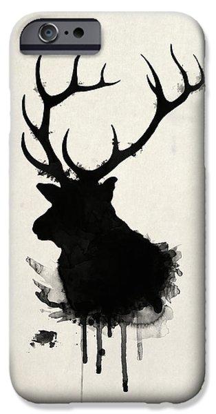 Hunting Drawings iPhone Cases - Elk iPhone Case by Nicklas Gustafsson