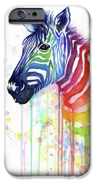 Animal iPhone 6 Case - Rainbow Zebra - Ode To Fruit Stripes by Olga Shvartsur