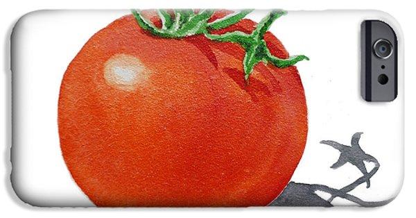 Berry Paintings iPhone Cases - ArtZ Vitamins Tomato iPhone Case by Irina Sztukowski