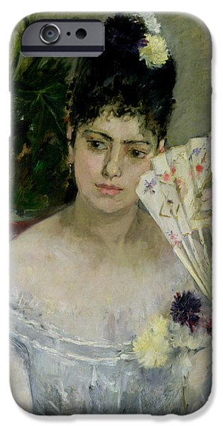 Young Paintings iPhone Cases - At The Ball iPhone Case by Berthe Morisot