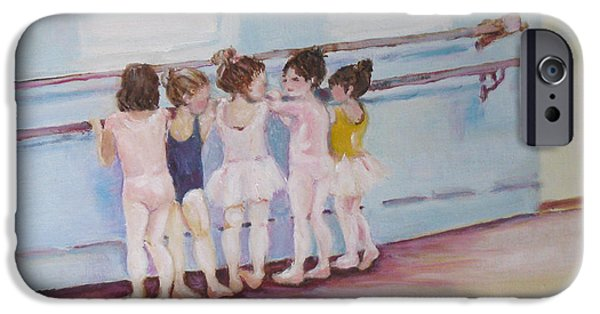 Little Girl iPhone Cases - At the Barre iPhone Case by Julie Todd-Cundiff
