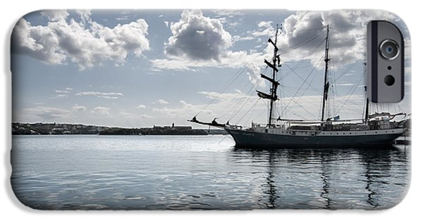 Figure iPhone Cases - Atlantis - A Three Masts Vessel In Port Mahon Crystaline Water iPhone Case by Pedro Cardona