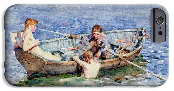 Boat Paintings iPhone Cases - August Blue iPhone Case by Henry Scott Tuke