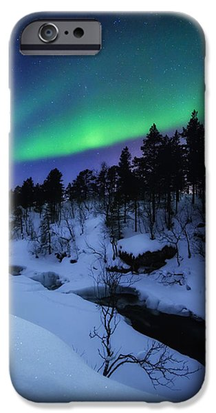 Aurora iPhone Cases - Aurora And A Full Moon Over Tennevik iPhone Case by Arild Heitmann