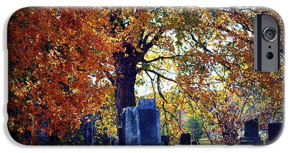 Grave Yards iPhone Cases - Autumn Cemetery iPhone Case by Cricket Hackmann