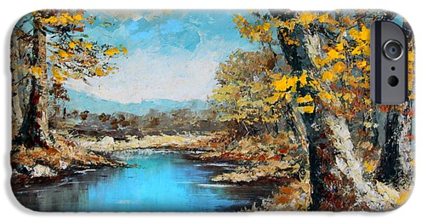 Waterscape Paintings iPhone Cases - Autumn Gold iPhone Case by Karon Melillo DeVega