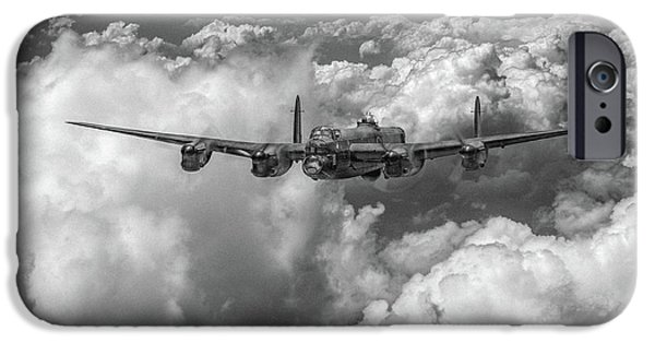 IPhone 6 Case featuring the photograph Avro Lancaster Above Clouds Bw Version by Gary Eason