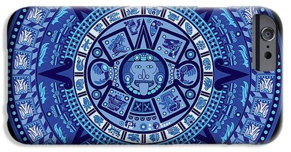 9c2f655a6 Aztec Eagle iPhone 6 Case - Aztec Calendar In New Blue by Bob Gomez
