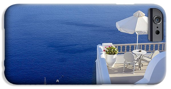 Terraces iPhone Cases - Balcony Over The Sea iPhone Case by Joana Kruse