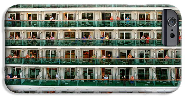 Boat Cruise iPhone Cases - Balcony People iPhone Case by Perry Webster