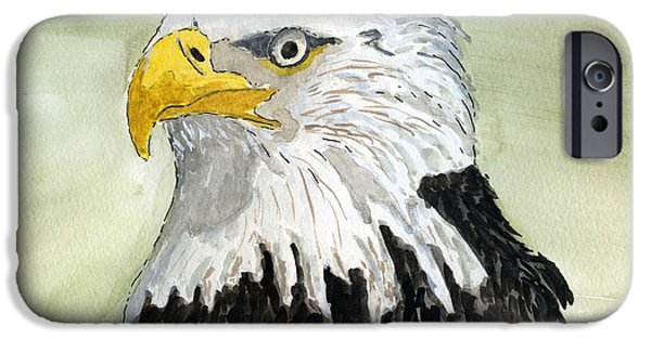 Wild Life Drawings iPhone Cases - Bald Eagle iPhone Case by Eva Ason