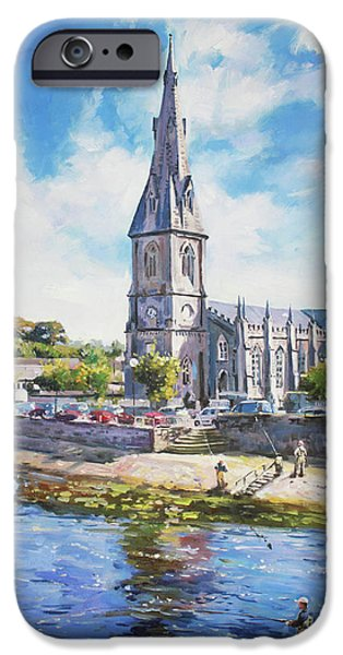 Reflection In Water iPhone Cases - Ballina Cathedral on River Moy iPhone Case by Conor McGuire