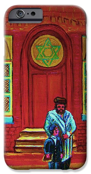 Lubavitcher iPhone Cases - Bar Mitzvah Lesson At The Synagogue iPhone Case by Carole Spandau