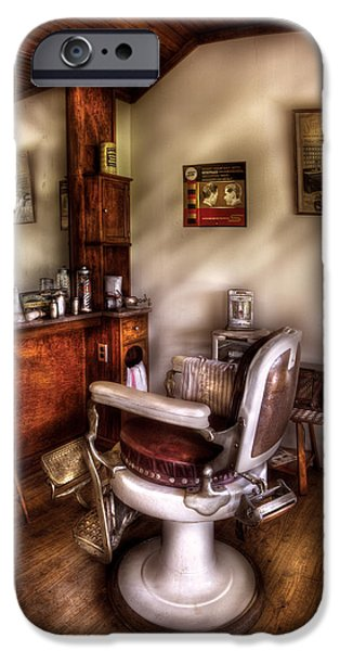 Barberchairs iPhone Cases - Barber - In The Barber Shop  iPhone Case by Mike Savad