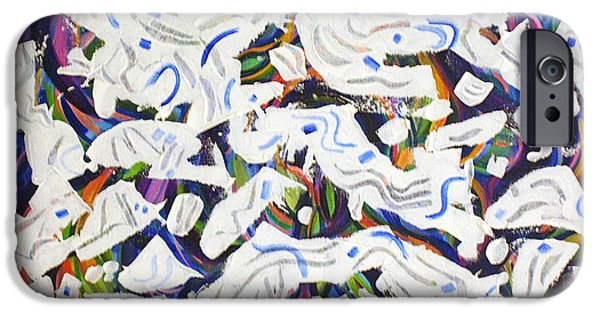 Free Form Paintings iPhone Cases - Barking Dogs iPhone Case by Lynda Lehmann
