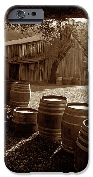Old Barn iPhone Cases - Barn and Wine Barrels 2 iPhone Case by Kathy Yates