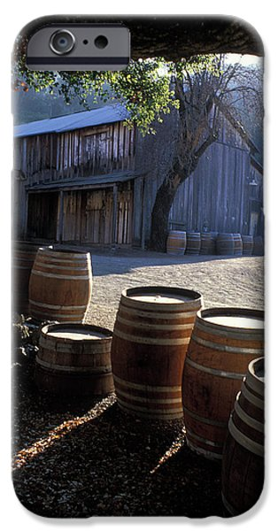 Old Barn iPhone Cases - Barn and Wine Barrels iPhone Case by Kathy Yates