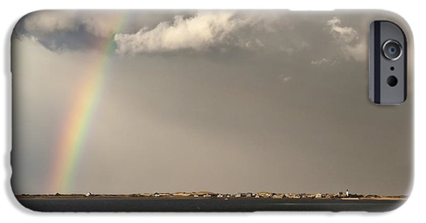 Storm Clouds Cape Cod iPhone Cases - Barnstable Harbor Rainbow iPhone Case by Charles Harden