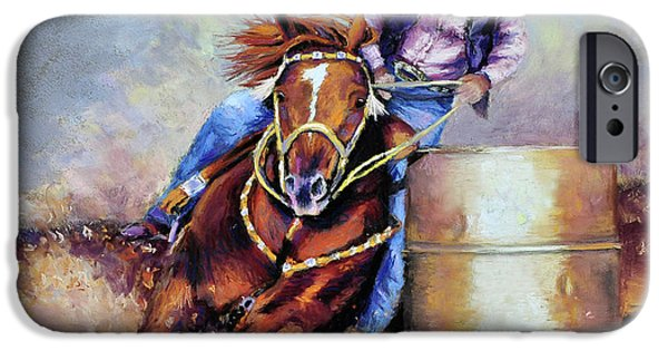 Horse Racing Pastels iPhone Cases - Barrel Rider iPhone Case by Susan Jenkins